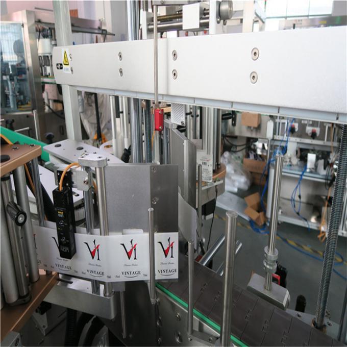 Parte frontal / traseira no aplicador de etiquetas de botellas non redondas ou planas, equipos de etiquetaxe de botellas