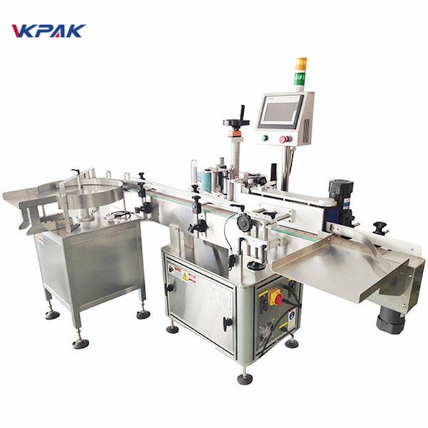 Máquina automática de etiquetaxe de etiquetas adhesivas de dobre lado con mesa xiratoria