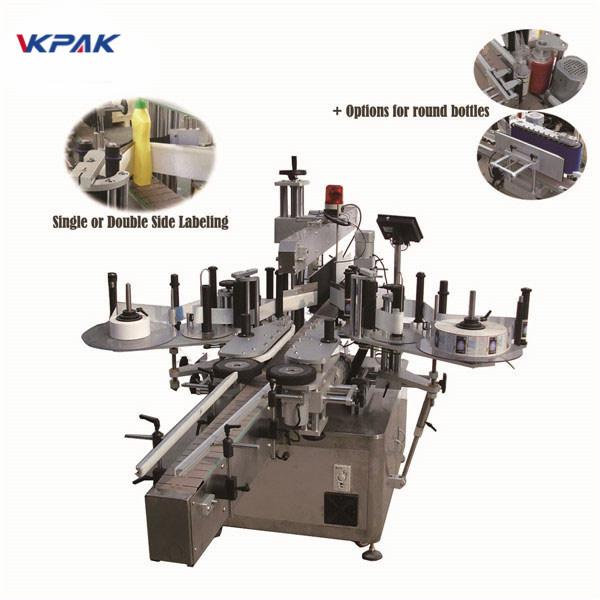 Máquina de etiquetaxe de envoltura vertical autoadhesiva de punto fixo para botella de aceite