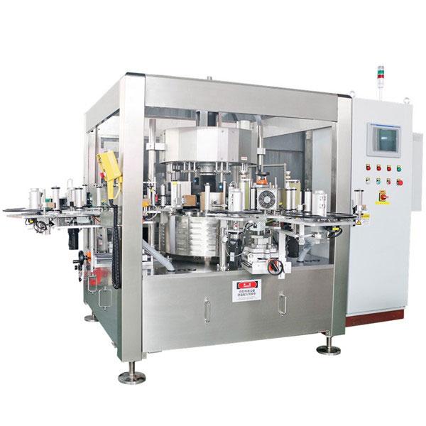 Máquina de etiquetaxe de etiquetas rotativas de botellas de cervexa de zume