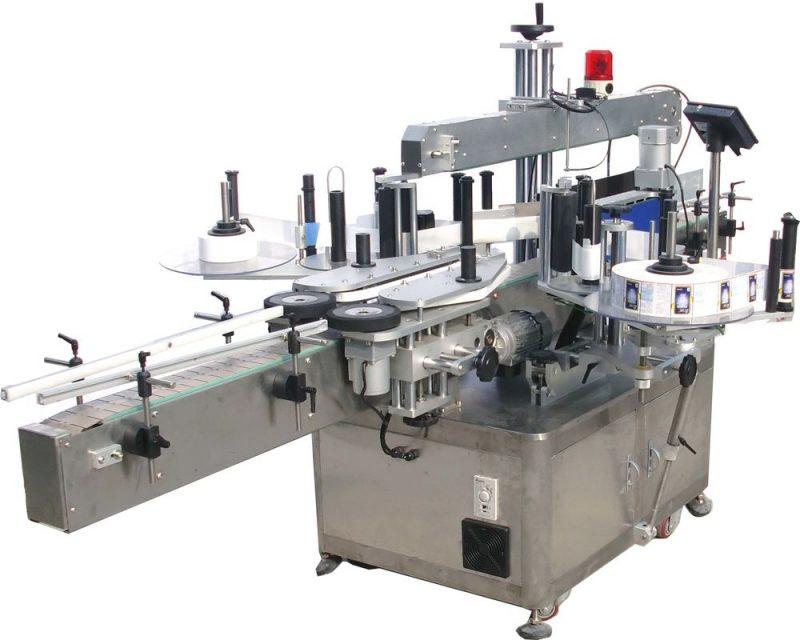 China Máquina de etiquetaxe automática de dobre cara con tapa de 5 galóns para adhesivo autoadhesivo