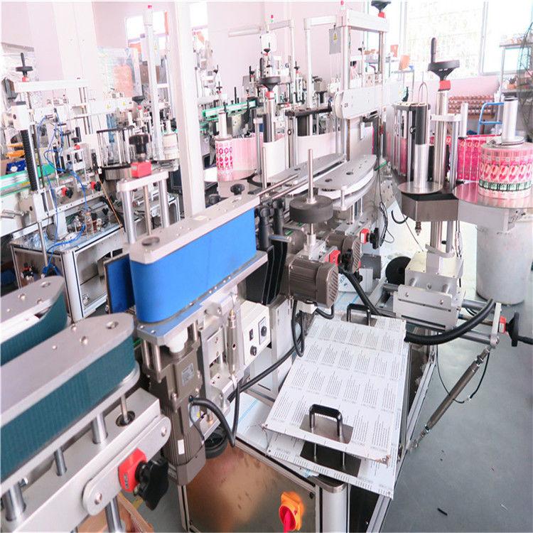Máquina de etiquetaxe de dobre cara de botella de China para varios frascos de botellas cadradas planas