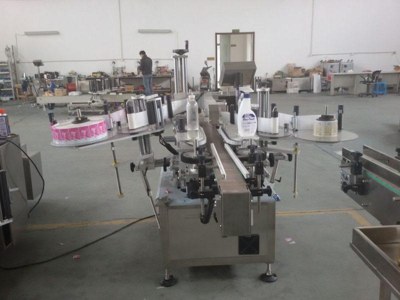 China Botellas de plástico e vidro Control PLC provedor automático de servomotores de etiquetaxe de etiqueta lateral dobre