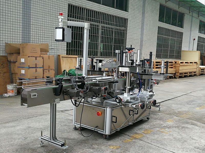 A máquina de etiquetaxe de adhesivos autoadhesivos de China pega 3 etiquetas nun provedor dunha botella