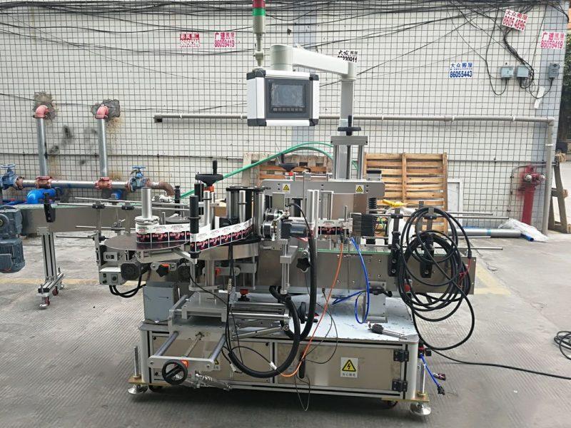 China Máquina etiquetadora de botellas planas de dobre cara de alta precisión automática de longa duración 2 metros