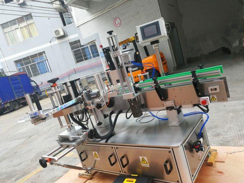 China Máquina de etiquetaxe de etiquetas de botellas redondas sensibles á presión, aplicador de etiqueta de envoltura vertical