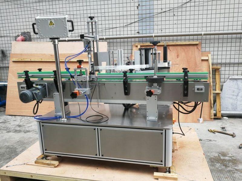 Proveedor de máquina de etiquetaxe automática de botellas redondas estándar por diante e por detrás