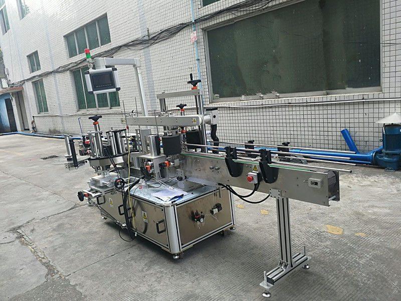 China Máquina de etiquetaxe de botellas de dobre cara con adhesivo automático provedor automático